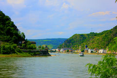 Wiew of the rhine in deutschland. Wiew of the rine in deutshland with old town Royalty Free Stock Photography
