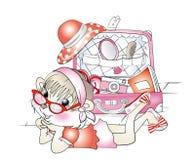 wiewiórcza dziewczyna paking wakacyjną walizkę ilustracja wektor