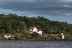 Wiewiórczy punktu światło na Arrowsic wyspie Maine Zdjęcia Stock