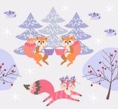 Wiewiórka napoju mleko od filiżanek Śliczny marzycielski lis biega przez zim bożych narodzeń lasowego Cudownego bezszwowego  ilustracji