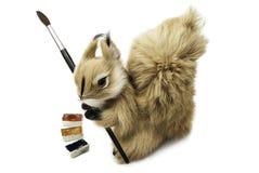 Wiewiórka z muśnięciem i akwarelami Fotografia Royalty Free