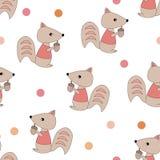 Wiewiórki z acorns bezszwowym wzorem ilustracja wektor