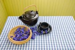 Świeży chabrowy na łozinowym koszu dla żywotności herbaty Zdjęcie Royalty Free