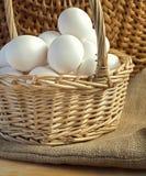 Świezi biali kurczaków jajka Fotografia Royalty Free