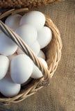 Świezi biali kurczaków jajka Obrazy Royalty Free