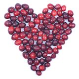 Świezi cranberries, serce Fotografia Stock