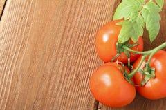 Świezi czerwoni pomidory na drewnianym tle miejsce tekst zdjęcia royalty free