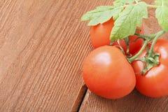 Świezi czerwoni pomidory na drewnianym tle miejsce tekst Fotografia Royalty Free