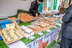 Świezi jajka przy rynkiem w Lancaster uk Zdjęcie Stock