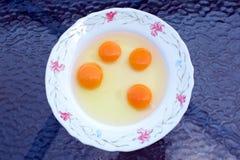 Świezi jajka w talerzu Zdjęcie Stock