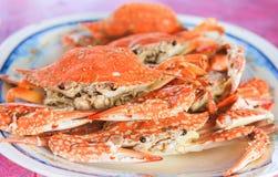 Świezi odparowani kraby na talerzu Obraz Stock