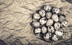 Świezi przepiórek jajka na brown opakunkowym papierze Odbitkowy cpase Odgórny widok Zdjęcie Royalty Free