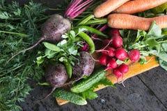 Świezi warzywa na drewnianym tle Fotografia Royalty Free