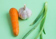 Świezi warzywa na jasnozielonym tle Marchewka, cebula, gar Fotografia Stock