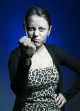 Wife. Angry wife shake one's fist Stock Photography