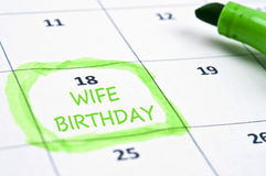 Wife birthday mark Stock Photo