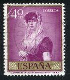 Wife of the Bookseller of Carretas Street. SPAIN - CIRCA 1958: stamp printed by Spain, shows painting of Wife of the Bookseller of Carretas Street, circa 1958 royalty free stock photography