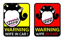 Wife in car icon label. Funny icon or label for sticker. Its gag for husband who afraid his wife, in asian look face stock illustration