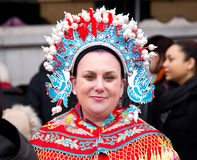 Wife of the chinese god of fortune. LONDON - FEBRUARY 22nd: The god of fortune's wife at the Chinese new year celebrations on February the 22nd, 2015, in London Stock Image