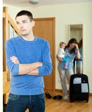 Wife with daugther leaving from home Stock Photos