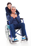 Wife disabled husband Stock Images