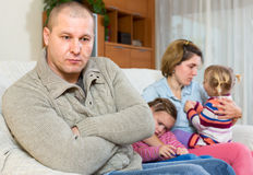 Wife doesn't forgive husband Stock Photo