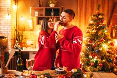 Wife is feeding her husband a christmas cake royalty free stock images