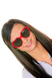 Wife flirts with heart-shaped sunglasses Stock Photo
