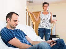 Wife and furious husband discussing divorce Royalty Free Stock Photos