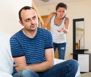 Wife and furious husband discussing divorce Royalty Free Stock Photo