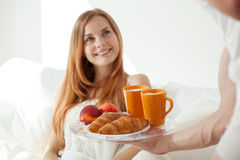 Wife and her breakfast Stock Image