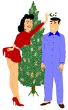 Wife holding mistletoe over husbands head Royalty Free Stock Photography
