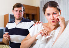 Wife with husband asking forgiveness Stock Photo