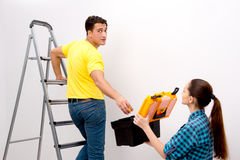 The wife and husband family doing home improvements Royalty Free Stock Photos