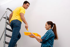 The wife and husband family doing home improvements Royalty Free Stock Photography