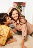 Wife and husband happy laying on the floor Royalty Free Stock Photography