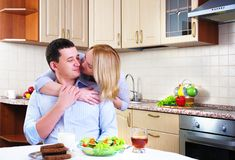 Wife and husband have breakfast Stock Image