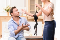 Wife and husband having scandal Stock Images