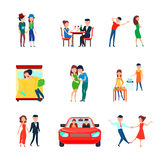 Wife Husband Responsibilities Icon Set. Colored and isolated wife husband responsibilities icon set with couple in love is responsible vector illustration Royalty Free Stock Photos