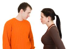 Wife and husband yelling to each other Royalty Free Stock Photography