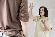 Wife and husband yelling to each other Stock Photos