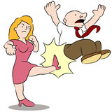 Wife Kicking Husband Royalty Free Stock Photo