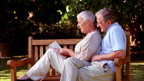 Wife leaning on husband on a bench and reading a book. In a park stock footage