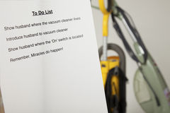 Wife's to do list. Wife To Do List for husband showing vacuum cleaners Stock Photos