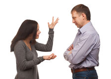 Wife scolding her husband Stock Image