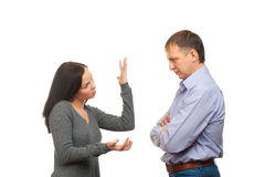 Wife scolding her husband Royalty Free Stock Images