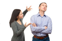 Wife scolding her husband Stock Images