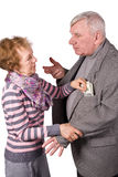 Wife takes from husband of money Royalty Free Stock Image