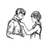 Wife tying necktie of her husband vector illustration sketch han. D drawn with black lines isolated on white background Royalty Free Stock Photo