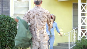 Wife Welcoming Husband Home On Army Leave stock footage